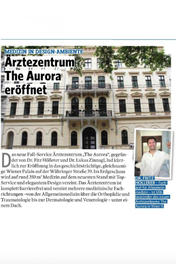 Pressebericht The Aurora Ärztezentrum Eröffnung