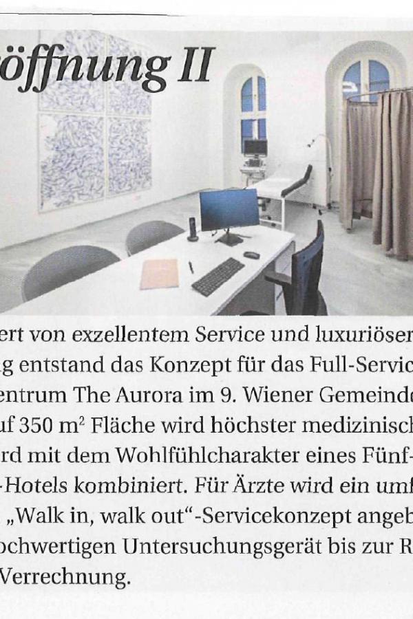 Eröffnung vom The Aurora Ärztezentrum Wien Pressebericht