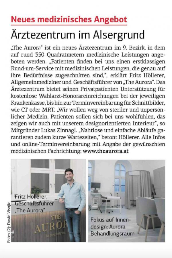 Ärztezentrum im Alsergrund Pressebericht The Aurora