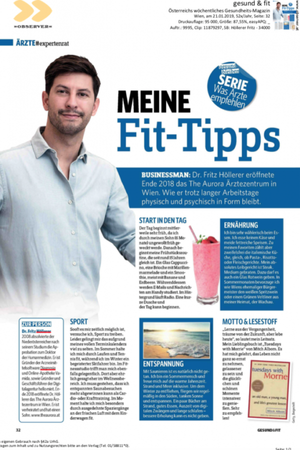 Dr. Fritz Höllerer: Meine Fit-Tipps - Pressebericht